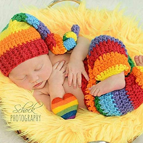 84640a27caf Amazon.com  Crochet Rainbow Baby Hat Beanie Top Knot Pants Diaper Cover Set  Miscarriage Infant Newborn Photography Photo Prop Baby Shower Gift Present   ...