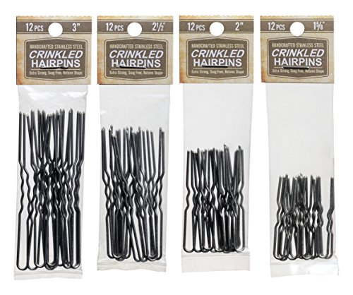 Crinkled Stainless Steel Heavy Duty Snagless Hairpins Pack of 12 SILVER Handmade Hair Pin