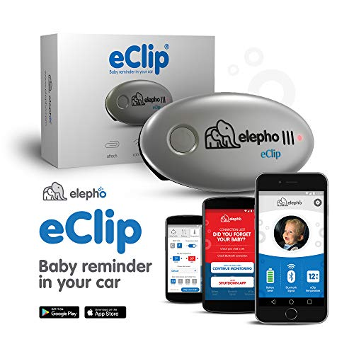 Elepho eClip Baby Reminder For Your Car – Attaches to car seat, seat belt and diaper bag – Connects to smartphone via low power Bluetooth – Sends proximity alerts, high and low temperature warning via