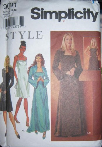 Simplicity 9091 Misses Evening Dress & Bolero Jacket Sewing Pattern Size A 6 thru 16