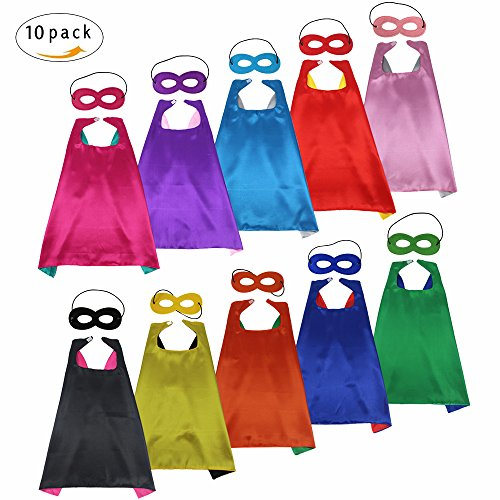 D.Q.Z Kids Superhero Capes Dress Up Costumes with Masks for Boys Girls Cosplay Party Favors, 10 Set