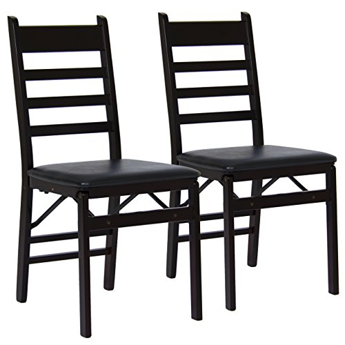 Best Choice Products Set of 2 Folding Wood Ladder Chairs- Espresso Brown by Best Choice Products