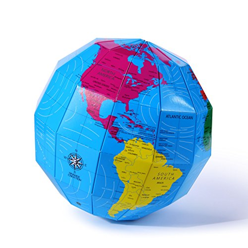 Globe Assemble Toys Map Puzzle 3D Planet Building Model Toy for Kids Earth Ball Education 7.8 Inch(Colorful) -