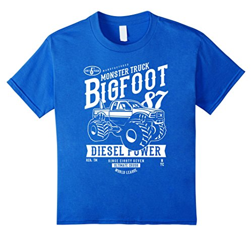 Bigfoot Monster Truck - Kids Monster truck Bigfoot T-shirt Vintage Graphic Design Shirt 6 Royal Blue