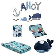 Lambs & Ivy Ahoy 5-Piece Crib Bedding Set - Aquatic Nautical Blue Whale