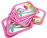 7'' Flamingos Paper Party Plates 24Pcs/set, KOOTIPS Includes Top Popular Flamingos | Perfect for Birthdays, Parties, Crafts, Prizes, and Games (Square)