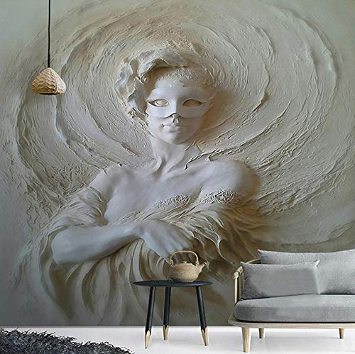HZDDR European Style 3D Stereo Relief Mask Beauty Statue Mural Wallpaper Living Room Bedroom Hotel Entrance Background Wall Paintings-380cm x 240cm
