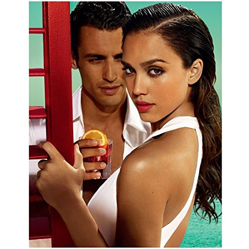 Jessica Alba 8 x 10 Photo White Dress w/Handsome Guy Holding a Glass of Campari - Alba Jessica Glasses