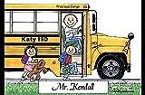 Personalized Friendly Folks Cartoon Side Slide Frame Gift: School Bus Driver - Male