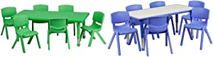Flash Furniture 24''W x 48''L Rectangular Green Plastic Activity Table Set with 6 Chairs & 23.625''W x 47.25''L Rectangular Blue Plastic Activity Table Set with 6 Chairs