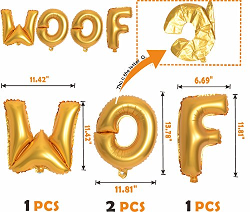 Meant2ToBe Dog Birthday Decorations Kit, 12 Inch WOOF Letter Ballons - 6Pc Walking Animal Pet Dog balloons - Paw Prints Round Biodegradable Latex Balloons - Blue Dog Birthday Hat by Meant2ToBe (Image #1)