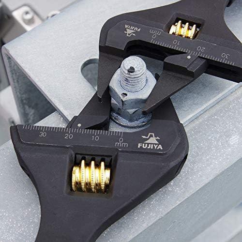 [スポンサー プロダクト]フジ矢(Fujiya) 先端薄型モンキーレンチ 黒金 グリップ付 FLT-38-BG