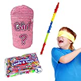 Punching Bag Gender Reveal Pinata Kit for Baby Showers Including Pinata, 3 lb Candy Filler, Buster Stick and Bandana