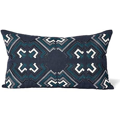 Hampden Indigo Teal Graphic Pillow 14x24