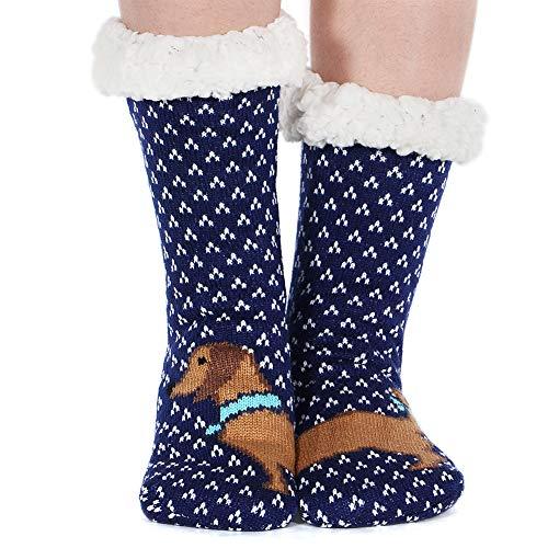 Fleece Lining Fuzzy Soft Christmas Knee Highs Stockings Slipper Socks (Dog-02) ()