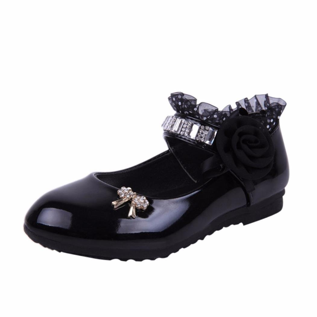 Voberry Little Girls Princess Dress Shoes Sandals Children Baby Toddler Fashion Flower Rhinestone Dance Flat Shoes Casual Mary Jane Gold