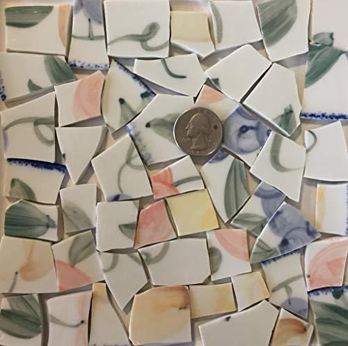 Mosaic Art & Craft Supply ~ Pastel Fruit & Green Leaves on White China Tiles (B220)