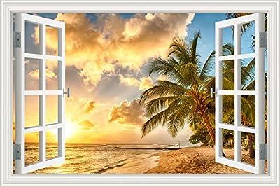3D Window Decal Wall Stickers Sunset Seaside Coconut Tree Home Decor Mural Art Vinyl Wallpaper