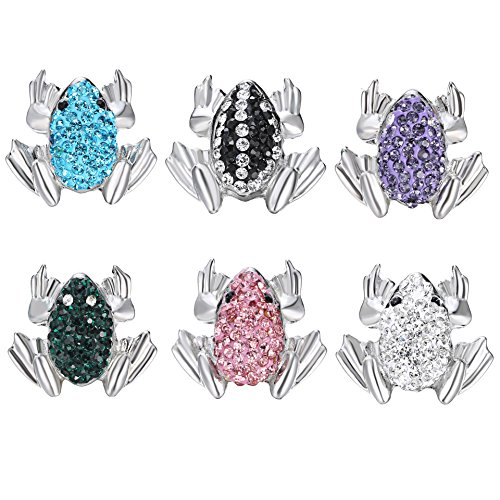 Ginooars Pack of 6 Mix Colors 24x27mm Full Rhinestones Frog Shape Snaps Charms for Ginger Snap Jewelry-Great Gift Idea (Frog Jewellery Great)