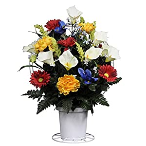 Sympathy Silks Artificial Cemetery Flowers Basket - Red, Yellow, Blue, and White Mix of Silk Fake Flowers for Outdoor Grave-Decorations - Non-Bleed Colors - USA Made 119