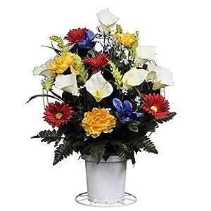 Amazon red yellow blue white silk flower basket by sympathy red yellow blue white silk flower basket by sympathy silks ba1559 mightylinksfo
