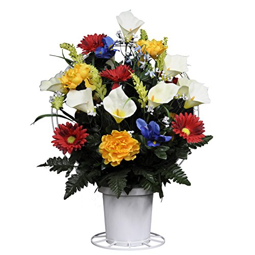 (Sympathy Silks Artificial Cemetery Flowers Basket - Red, Yellow, Blue, and White Mix of Silk Fake Flowers for Outdoor Grave-Decorations - Non-Bleed Colors - USA Made)