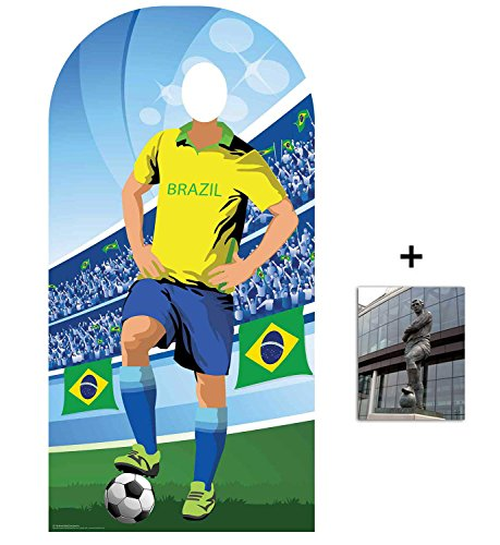 World Cup Football 2018 Brazil Lifesize Adult Stand-in Cardboard Cutout Fan Pack, 190cm x 96cm Includes 8x10 Star -