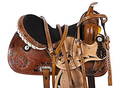 14 15 16 WESTERN SADDLE BARREL RACING RACER PLEASURE TRAIL SHOW HORSE LEATHER BRIDLE BREAST COLLAR TACK SET from Acerugs