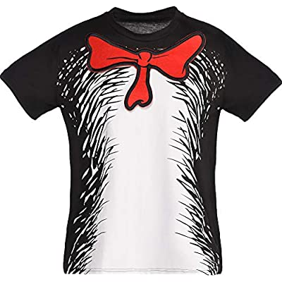 Cat shirt Costumes USA Dr. Seuss Cat in the Hat T-Shirt for Kids, Halloween Costume Accessories, Extra Small/S [tag]