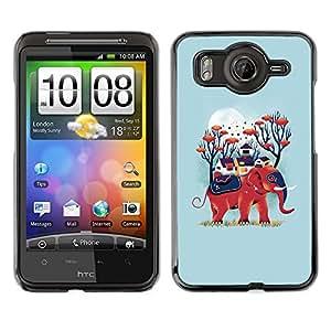 Cubierta de la caja de protección la piel dura para el HTC DESIRE HD / G10 - blue elephant nature moon animal