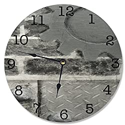 Stupell Home Décor Grey Industrial Decorative Vanity Wall Clock, 12 x 0.4 x 12, Proudly Made in USA
