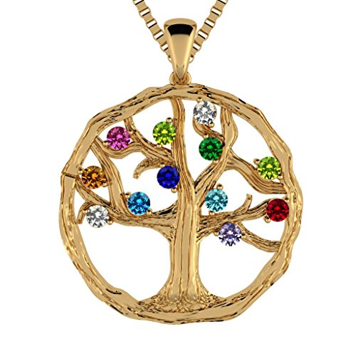 NANA Tree of Life Mother s Pendant 1-12 Stones with a 1mm 22 Adj. Box Chain, Silver, 10K or 14K Gold