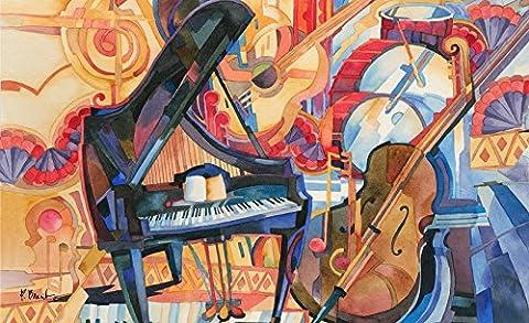 Toland Home Garden Orchestra Decorative Doormat, Music Piano Cello (Cello Kitchen Sponges)