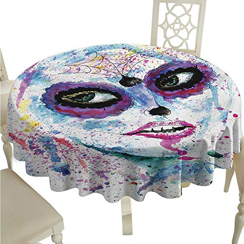 Stain-Resistant Tablecloth Girls Grunge Halloween Lady with Sugar Skull Make Up Creepy Dead Face Gothic Woman Artsy Easy to Clean D54 Suitable for picnics,queuing,Family ()