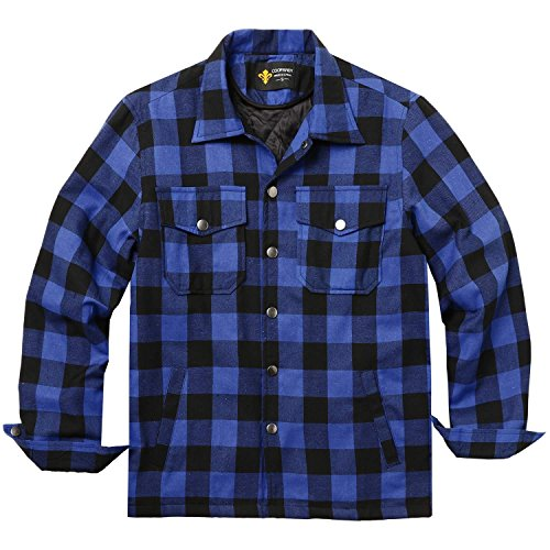 Men Flannel Thermal - DAZZILYN Mens Flannel Thermal Lined Plaid Button Down Shirt Jacket Outdoor Coat