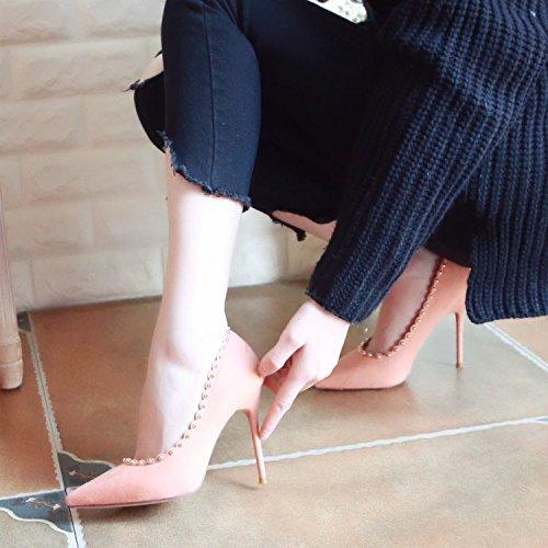 Pumpkin Haut Chaussures Superficiellement Femme Rivet Talon Fine Ressort Zhudj Dentelle Red 64Hx6z