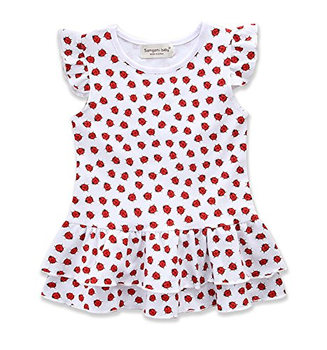 Toddler Baby Girls Ruffle Ladybug Dress Summer Sleeveless