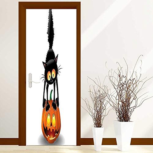 L-QN Sticker for Front Door Black Cat on Pumpkin Head Spooky Cartoon Characters Halloween Humor Themed Art Orange Anti-UV, Easy Installation W31 x H79 inch