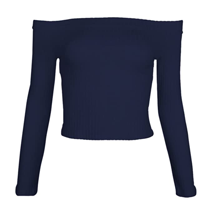 Uideazone Frauen-Damen Schulterfrei Pullover Long Sleeve Top Soild Farbe S  L: Amazon.de: Bekleidung