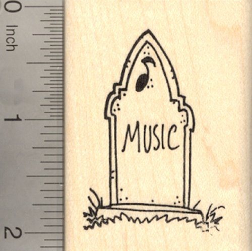 Halloween Tombstone Rubber Stamp, with Gravestone Epitaph for Music]()