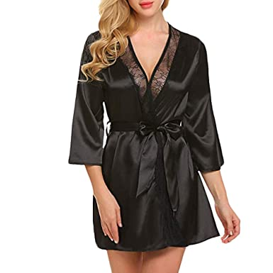 a5380dc2c3 OrchidAmor Sissy Women Lace Deep V Sexy Lace Patchwork Long Sleeve  Nightgown Kimono Satin Bath Robe