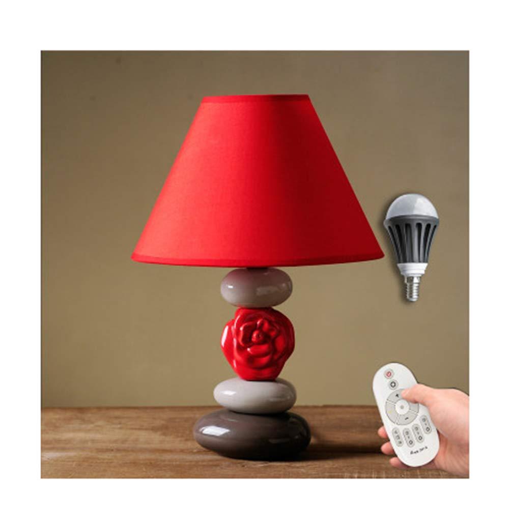 JDGK テーブルランプ寝室のベッドサイドクリエイティブ照明デスクランプシンプルモダンかわいい暖かい赤の読書ランプ結婚式 -327 電気スタンド (色 : Remote control) B07QRR7SLG Dimming  Dimming