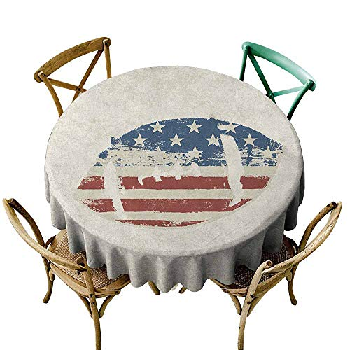 Sunnyhome Spill-Proof Table Cover Sports Grunge American Flag Themed Stitched Rugby Ball Vintage Design Football Theme Cream Blue Red Table Cover for Kitchen Dinning Tabletop Decoratio 35 INCH
