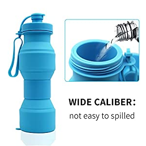Asrisuk Sports Collapsible Water Bottle 27 oz, Folding BPA Free Silicone Water Bottle 800ml FDA Approved for Traveling, Camping, Hiking, Walking, Running (Blue)