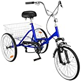 Happybuy 24 Inch Adult Tricycle Series 6/7 Speed 3 Wheel Bike Adult Tricycle Trike Cruise Bike Large Size Basket for Recreation, Shopping,Exercise Men's Women's Bike (Blue/1-Speed Foldable)