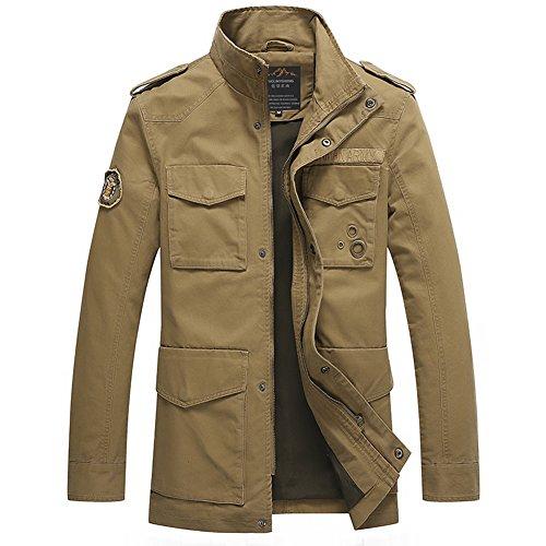 H.T.Niao Jacket8928C3 Men 's Fashionable Stand - up Jackets(Khaki,Size L)