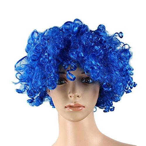 Evaliana LED Light Up Halloween Costume Curly Circus Afro Wig Clown Adult Kids