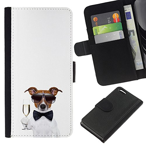 Lead-Star (happy new tear champagne dog) Colorful Impression Holster Cuir Wallet Cover Housse Peau Cas Case Coque Pour Apple iPhone 5C