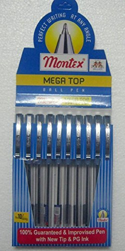 Set of 10 Montex Mega Top Blue Ball Pen - Original Brand New - India