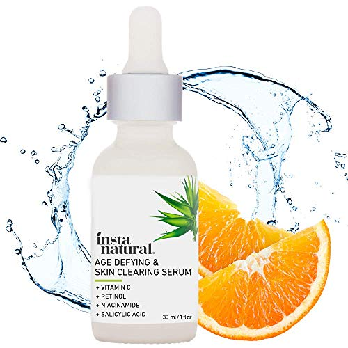InstaNatural Vitamin C Anti Aging Skin Clearing Serum - Wrinkle, Cystic Acne, Fine Line, Pigmentation, Pore Minimizer & Dark Spot Corrector for Face - Retinol, Hyaluronic, & Salicylic Acid - 1oz (Best Vegan Skin Care Line)